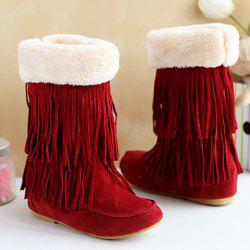 Hidden Wedge Fringe Suede Boots - DEEP RED