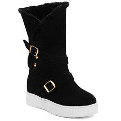 Double Buckle Hidden Wedge Mid Calf Boots