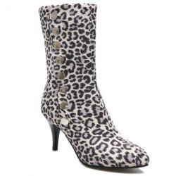 Snap Closure Leopard Printed Pointed Toe Mid-Calf Boots