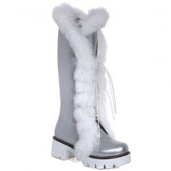 Platform Faux Fur Tie Up Boots - SILVER 39