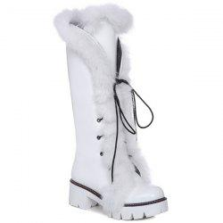 Platform Faux Fur Tie Up Boots