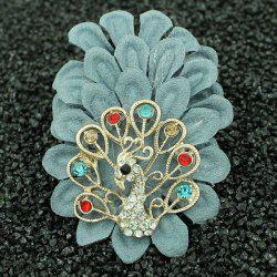 Faux Leather Filigree Peacock Brooch - LIGHT BLUE