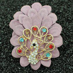 Faux Leather Filigree Peacock Brooch -
