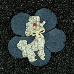 Floral Rhinestone Bowknot Poodle Brooch - WATER BLUE