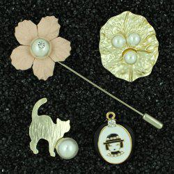 Faux Pearl Little Girl Cat Brooch Pin Set - LIGHT PINK