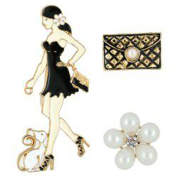 Fashion Girls Pet Hand Bag Brooch Set - BLACK
