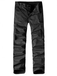 Straight Leg Multi-Pocket Zipper Fly Cargo Pants