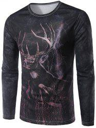 3D Antelope Print Round Neck Long Sleeve T-Shirt