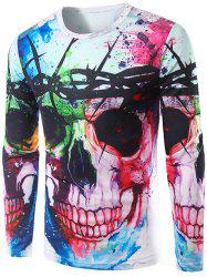 Colorful Skull 3D Print Long Sleeve T-Shirt - COLORMIX