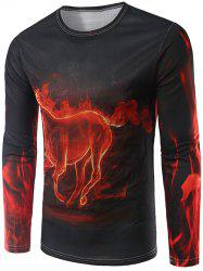 Fire Horse 3D Print Long Sleeve T-Shirt