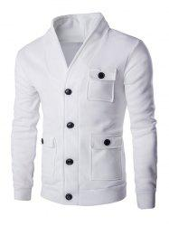 Flap Patch Pocket Long Sleeve Button Up Jacket - WHITE 2XL