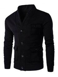 Flap Patch Pocket Long Sleeve Button Up Jacket -