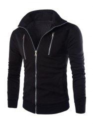 Stand Collar Long Sleeve Zippered Jacket - BLACK 2XL