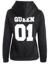 Flocking Letter Print Graphic Hoodie -
