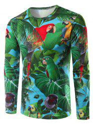 3D Leaves and Parrot Print Crew Neck Long Sleeve T-Shirt