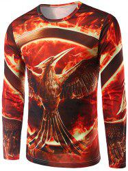 3D Flame Bird Print Crew Neck Long Sleeve T-Shirt - RED