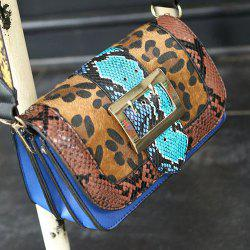 Splicing Leopard Printed Buckle Crossbody Bag