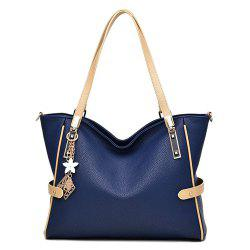 Colour Splicing Textured Leather Metal Shoulder Bag