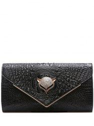 PU Leather Rhinestones Embossing Evening Bag - BLACK