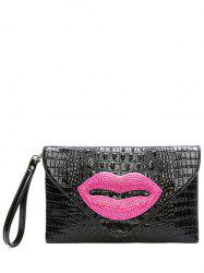 Magnetic Closure Lip Pattern Embossing Clutch Bag -