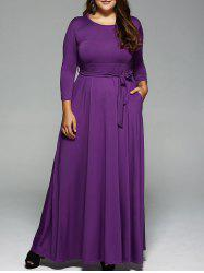 Plus Size Long Sleeve Maxi Formal A Line Evening Swing Dress -
