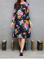 Side Slit Blossom Print Knee Length A Line Dress