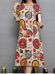 Ethnic Print Twin Pockets A-Line Dress -