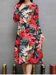 Flower Print Pockets Design A-Line Dress