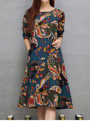 Loose Ethnic Print Pockets Design A-Line Dress - CADETBLUE