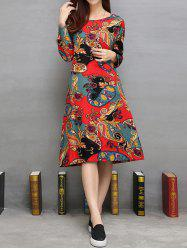 Loose Ethnic Print Pockets Design A-Line Dress
