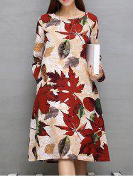Pockets Design Maple Leaf Print A-Line Dress