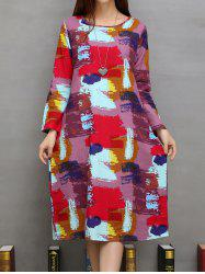 Pockets Design Pigment Print A-Line Dress