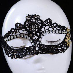 Gothic Style Rhinestone Flower Lace Party Mask - BLACK