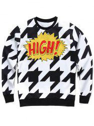 Crew Neck 3D Houndstooth and Letter Print Long Sleeve Sweatshirt -