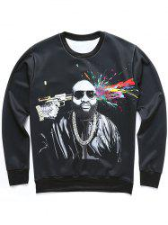 3D Figure and Splatter Paint Print Sweatshirt - BLACK 2XL