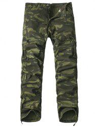 Multi-Pocket Drawstring Hem Zipper Fly Camo Cargo Pants - ARMY GREEN CAMOUFLAGE 38