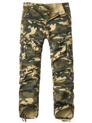 Pantalon Multi-Pocket Drawstring Hem Zipper Fly Camo Cargo - Kaki