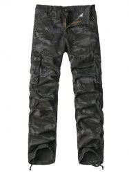 Multi-Pocket Drawstring Hem Zipper Fly Camo Cargo Pants