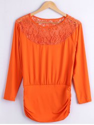 Lace Spliced Fitting Blouse