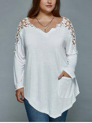 Plus Size Lace Insert Long Sleeve Tunic T-Shirt - WHITE