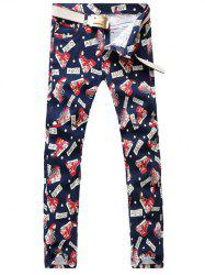 Letter Print Dotted Zipper Fly Casual Pants -