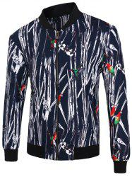Arbre Branche 3D et Bird Imprimer stand Collar Zip-Up Jacket -