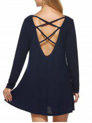 Criss Cross Backless Dress - DEEP BLUE