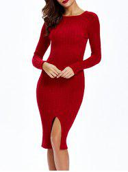 Cable-Knit Furcal Double-Wear Dress - DEEP RED