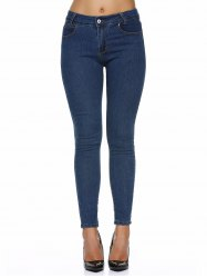 Stretchy Pocket Design Skinny Jeans - DEEP BLUE