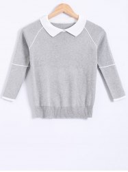 Peter Pan Collar Splicing Knitwear -