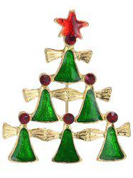 Layered Geometric Pentagram Christmas Tree Brooch - GREEN