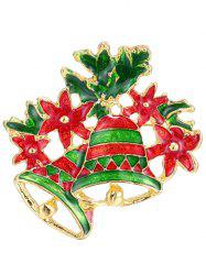 Leaf Flower Christmas Bells Brooch - GOLDEN