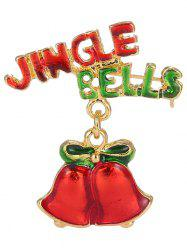 Alloy Jingle Bells Bows Christmas Brooch - GOLDEN