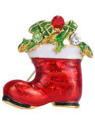 Alloy Rhinestone Leaf Christmas Shoe Brooch - GOLDEN